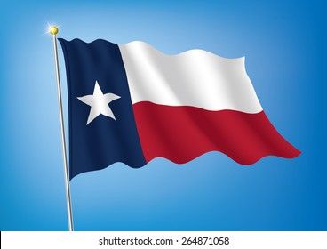 Vector art flags waving illustration:Texas