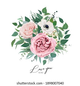 Vector art floral watercolor bouquet editable illustration. Elegant mauve, dusty pink garden rose flowers, anemone, tender, creamy wax flower, eucalyptus greenery, leaves, sage green herbs and berries