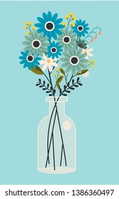 The vector art of flower in the jar. The transparent jar have a flower. beautiful flower in the jar on blue background can use for banner and pattern. flower in flat vector style