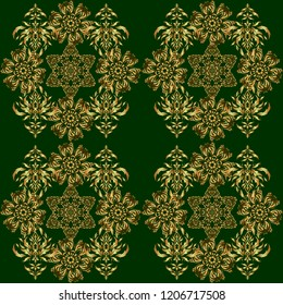 Vector art of golden mehndi. Seamless pattern on a green backdrop. Traditional indian style, ornamental floral elements for henna tattoo, printing, golden stickers, mehndi, yoga design.