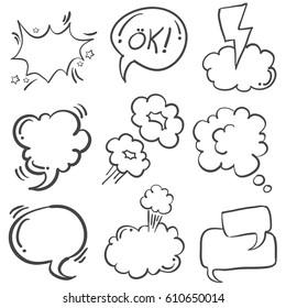 Vector art of hand draw text balloon