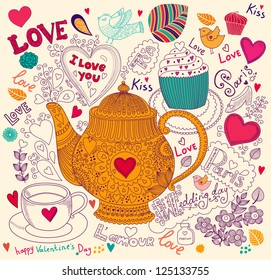Vector art hand drawn holiday card with cupcake and teapot