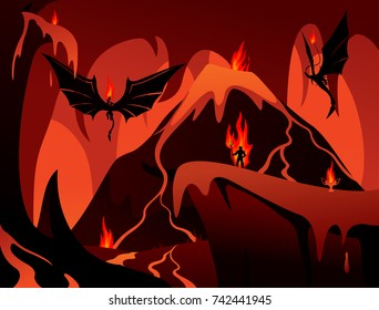 Vector art with hell, volcano, demons and human in fire