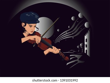 A Vector art to Holocaust Day - A Jewish boy plays the violin with a dreamy background in black and white. Fiddler on the Roof.