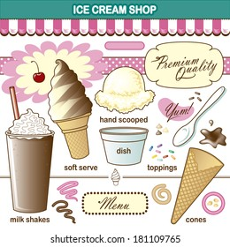 Vector Art Ice Cream Shop Set Toppings Shake