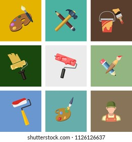 vector art icons. graphic design concept - drawing and painting tools, illustrations sign symbols