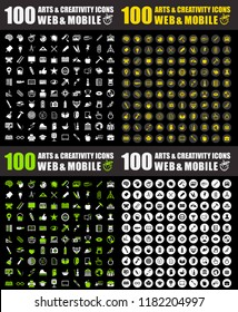 vector art icons. graphic design concept - drawing and painting tools, illustrations sign symbols. artist icons