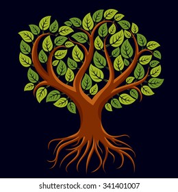 Vector art illustration of branchy tree with strong roots. Tree of life symbolic graphic image, environment conservation theme, spring season.