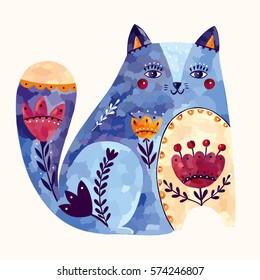 Vector art illustration with decorative cat
