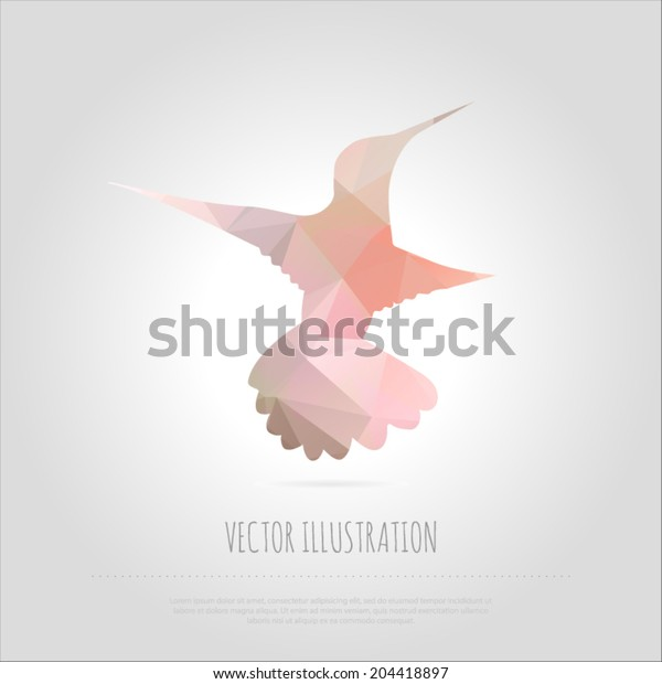 Vector art illustration fly bird colibri isolated. Contemporary spectrum mosaic design element. Abstraction animal hummingbirds card. Trendy multicolored polygonal background  with text block.