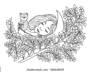 Vector art illustration girl asleep on the moon among the branches of a tree. Work done by hand. Book Coloring anti-stress for adults and children. Black and white.