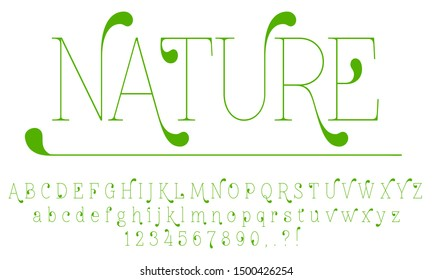 Vector art illustration of the  slim nature green leaf font, english alphabet and numbers