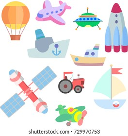 vector art. Isolated illustration for a game on a white background. Vehicles: rockets, satellites, ships and a tractor