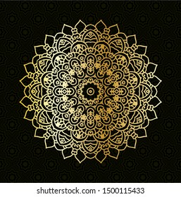 vector art of luxury mandala design background with gold metallic color