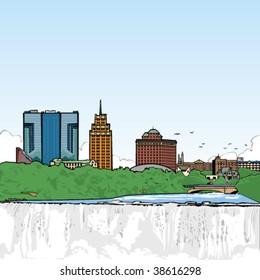 Vector art of Niagara Falls USA.