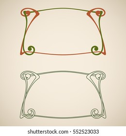 Vector art nouveau frames for print and design.
