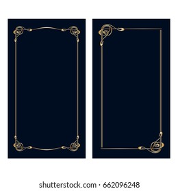 Vector art nouveau invitation cards with space for text.