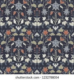 Vector art nouveau pattern. Art Nouveau. aquilegia flowers, leaves and berries. dark background