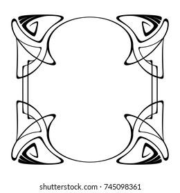 Vector art nouveau vintage frame for design invitation card, packing, booklet, print.