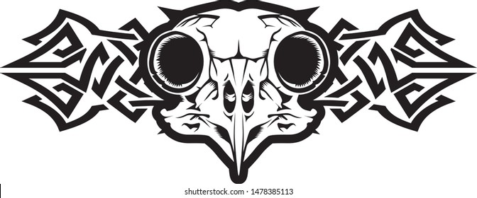 Vector art owl skull with celtic ornament