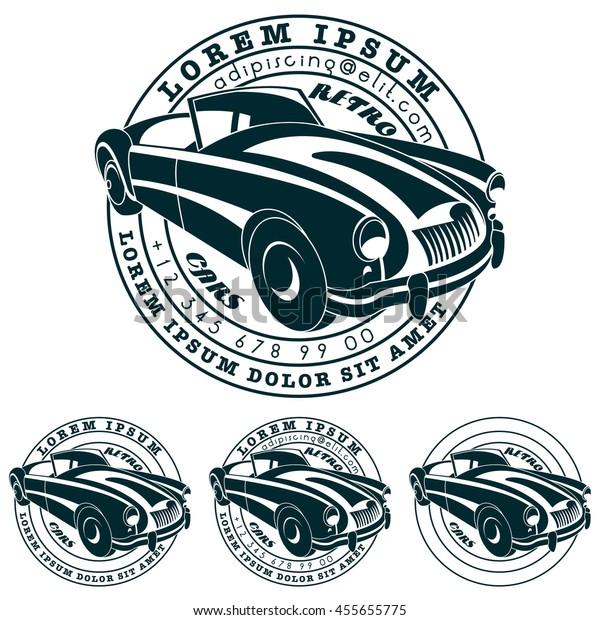 Vector Art Retro Car Circle Logo Stock Vector (Royalty Free