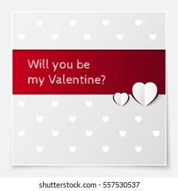Vector art for save the date card, wedding invitation or valentine's day card. Will you be my Valentine? phrase. Space for text. 3D paper heart