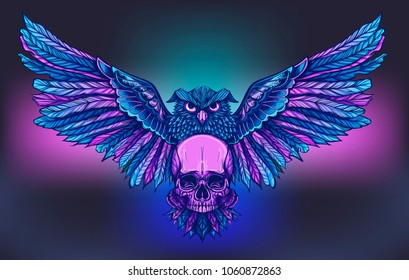 Vector art for tatoo or poster or T-shirt design with owl holding skull. Colored illustration isolated on white background