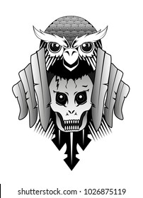 Vector art for tatoo or T-shirt design. Owl, scull and feather