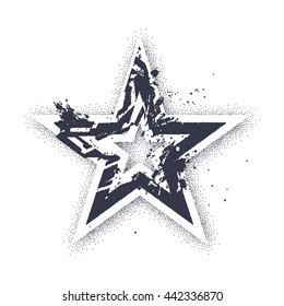 Vector art with tattoo styled star. Dotwork and blackwork tattoo technique. Grunge styled star shape.