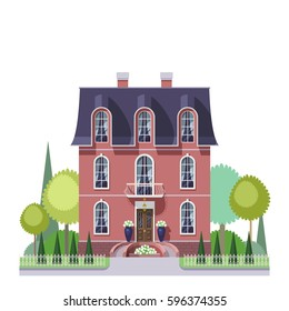 Vector art of three-storied mansion house in a french style with symmetric garden,elegant balcony and porch. Facade wall of marsala color, roof color of blue vortex.
