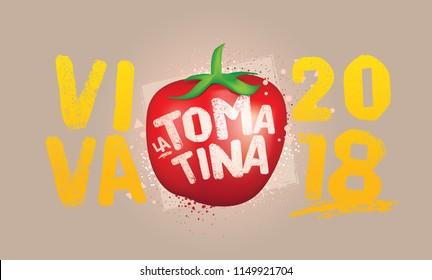 Vector Art for Tomatina Festival. Buñol Valencia Spain. Celebration Logo. Tomato Symbol.