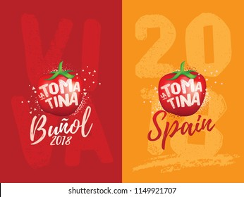 Vector Art for Tomatina Festival. Buñol Valencia Spain. Celebration Logo. Tomato Symbol.