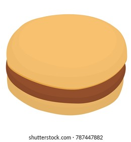 Vector art of a very simple, cartoon style sausage biscuit.  May also work as a plain hamburger.  Set and matching food available.  Transparent background in vector file.