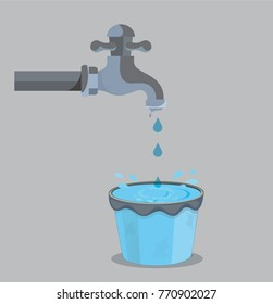 Vector art of water dropping in a bucket and water is overflowing.