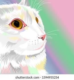 Vector art of a white cat named Lisa.