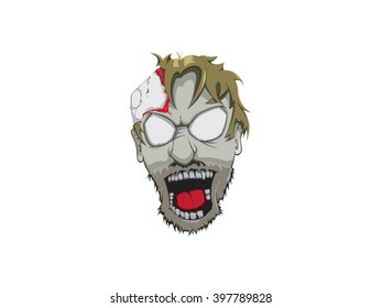 Vector art zombie head drawing
