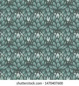 Vector artichoke flower green monotone seamless pattern background Surface pattern design for fabric, paper, backgrounds