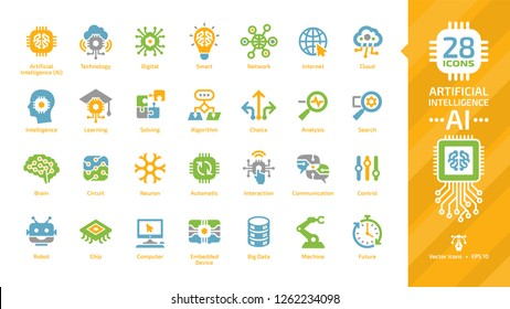 Vector artificial intelligence color icon set with machine learning, smart robotic tech and computer network digital AI technology: internet, cloud, solving, algorithm, choice, analysis colorful sign.