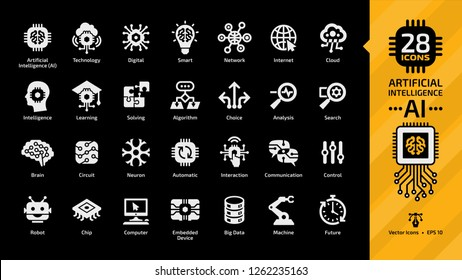 Vector artificial intelligence white glyph icon set on a black background with machine learning, smart robotic and cloud computing network digital AI technology.