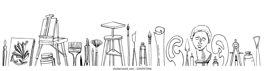Vector artist materials in a row - hand drawn sketch. Black and white stylized illustration with painting and drawing tools isolated on white background. Easel, tubes, brushes, models, pens, rulers