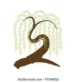 vector: artistic asian brushwork willow tree