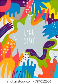 Vector artistic colorful hand drawn poster, flyer, background, card with text space. Art brochure