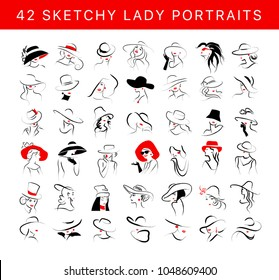 Vector artistic hand drawn stylish young lady portrait set isolated on white background. Fashion girl model icon. Woman in hat. Beauty illustration, logo design. Fashion poster, placard, banner.