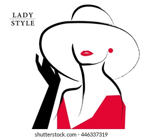 Vector artistic hand drawn stylish young lady portrait isolated on white background. Fashion girl, model. Woman in hat. Beauty illustration, logo element design. Fashion poster, placard, banner.