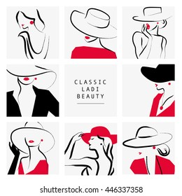 Vector artistic hand drawn stylish young lady portrait set isolated on white background. Fashion girl, model. Woman in hat. Beauty illustration, logo element design. Fashion poster, placard, banner.