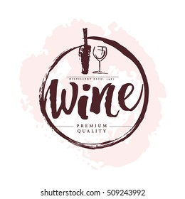 Vector artistic hand drawn wine logo isolated on white background. Ink drawing. Alcohol company brand mark design emblem. Wine bottle badge design.