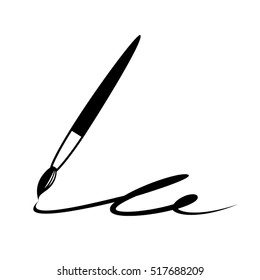 Vector artistic icon of ink brush indicating graphic and creative arts portfolio