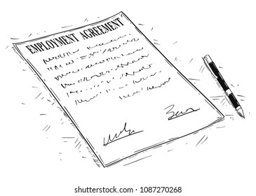 labor agreement images stock photos vectors shutterstock Good General Labor Resume vector artistic ink drawing illustration of pen and employment agreement document to sign