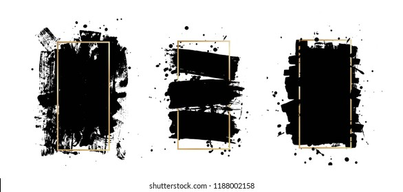 Vector artistic ink, watercolor brush strokes. Grunge paint texture. Abstarct stamp background. Paint splatter. Frame for text. - stock vector