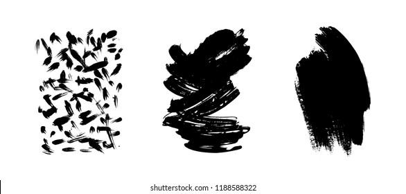 Vector artistic ink, watercolor brush strokes. Grunge paint texture. Abstarct stamp background. - stock vector